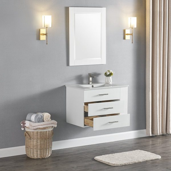 30 Inch Constantia 1906-30R-01 Floating Bathroom Vanity Right Side Shelf Color Matte White 4