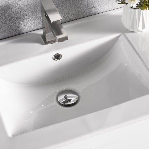 30 Inch Constantia 1906-30R-01 Floating Bathroom Vanity Right Side Shelf Color Matte White 5