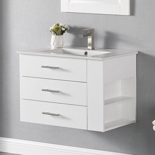 30 Inch Constantia 1906-30R-01 Floating Bathroom Vanity Right Side Shelf Color Matte White