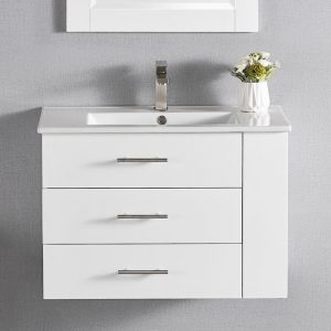 "30"" Constantia1906-30R-01 Floating Bathroom Vanity (Right Side Shelf) Color Matte White"