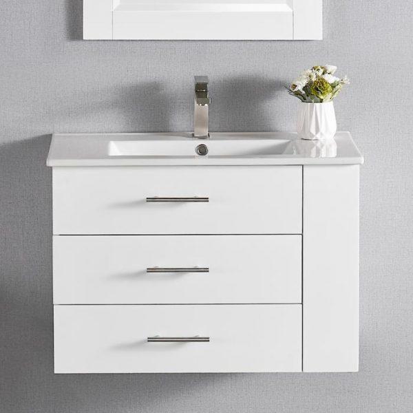 "30"" Constantia1906-30R-01 Floating Bathroom Vanity (Right Side Shelf) Color Matte White"