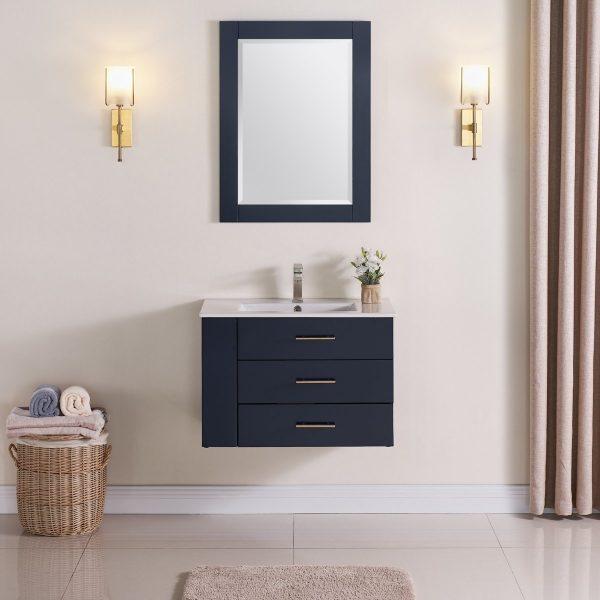 30 Inch Floating Bathroom Vanity Color Marine Blue 1906-30L-04 Left Side Shelf 2