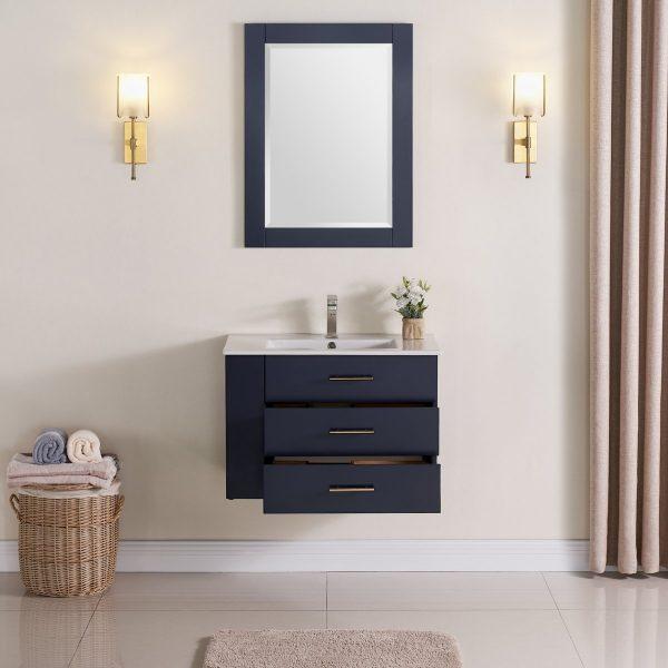 30 Inch Floating Bathroom Vanity Color Marine Blue 1906-30L-04 Left Side Shelf 3