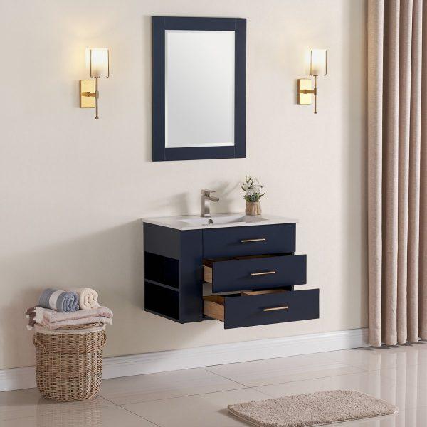 30 Inch Floating Bathroom Vanity Color Marine Blue 1906-30L-04 Left Side Shelf 4