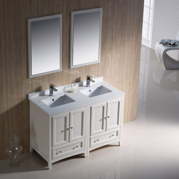 Fresca FVN20-2424AW Oxford 48 Inch Traditional Double Sink Bathroom Vanity 1