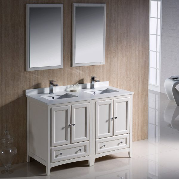 Fresca FVN20-2424AW Oxford 48 Inch Traditional Double Sink Bathroom Vanity 2
