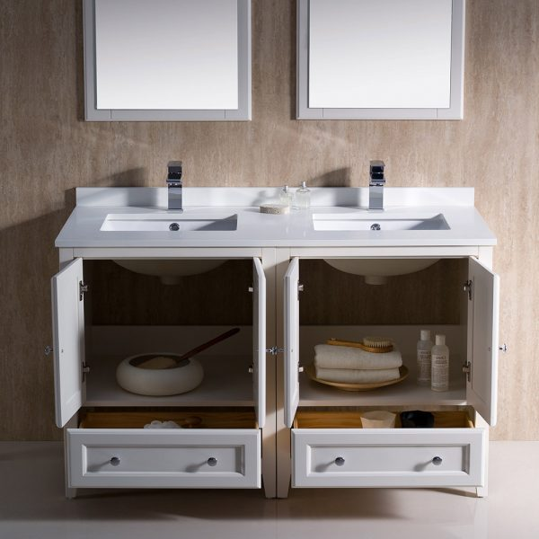 Fresca FVN20-2424AW Oxford 48 Inch Traditional Double Sink Bathroom Vanity 3