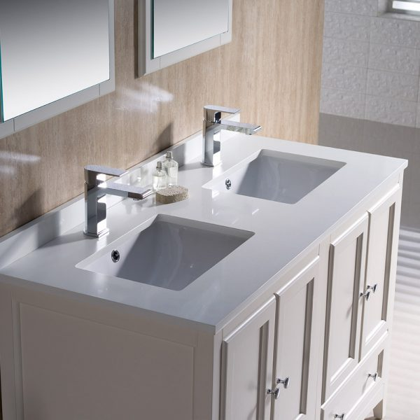 Fresca FVN20-2424AW Oxford 48 Inch Traditional Double Sink Bathroom Vanity 4