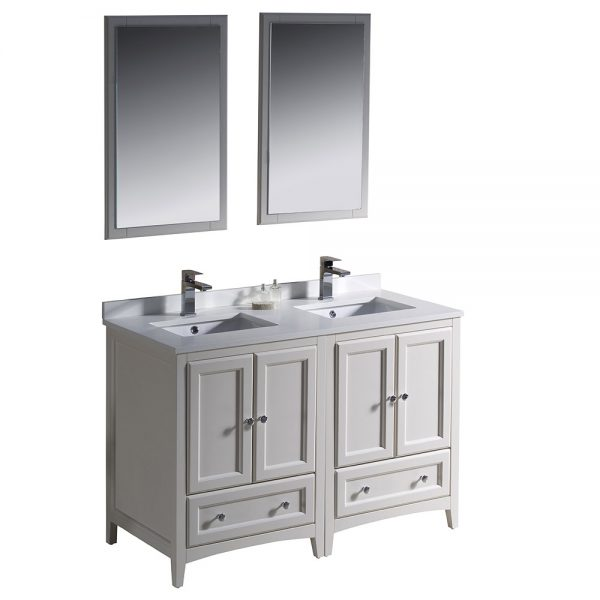 Fresca FVN20-2424AW Oxford 48 Inch Traditional Double Sink Bathroom Vanity 5