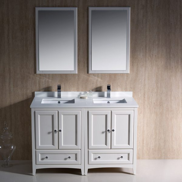 Fresca FVN20-2424AW Oxford 48 Inch Traditional Double Sink Bathroom Vanity