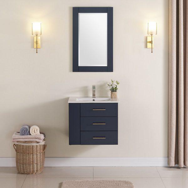 Constantia 24 Inch Left Side Shelf Color Marine Blue 1906-24L-04 Floating Bathroom Vanity 2