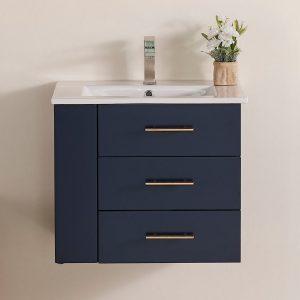 Constantia 24 Inch Left Side Shelf Color Marine Blue 1906-24L-04 Floating Bathroom Vanity