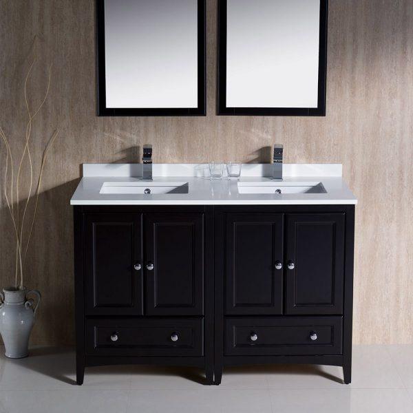 Fresca FVN20-2424ES Oxford 48 Inch Traditional Double Sink Bathroom Vanity in Espresso 1