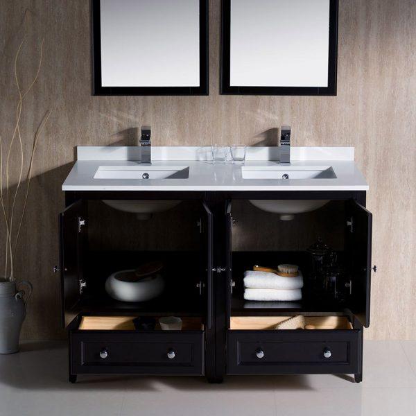 Fresca FVN20-2424ES Oxford 48 Inch Traditional Double Sink Bathroom Vanity in Espresso 2