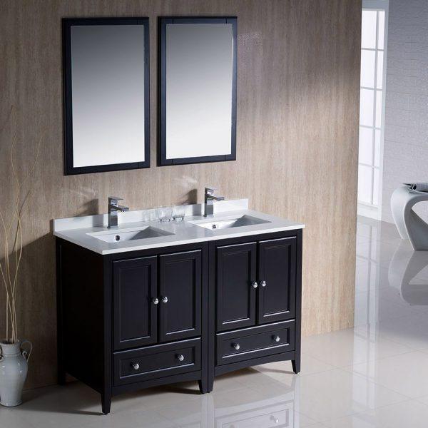 Fresca FVN20-2424ES Oxford 48 Inch Traditional Double Sink Bathroom Vanity in Espresso