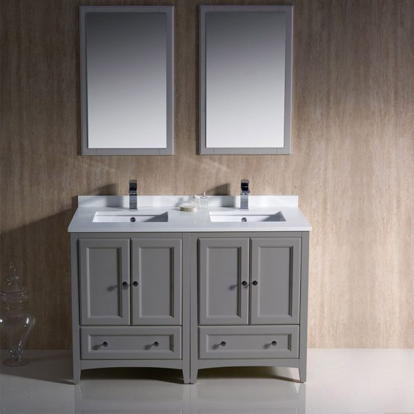 Fresca FVN20-2424GR Oxford 48 Inch Gray Traditional Double Sink Bathroom Vanity 1