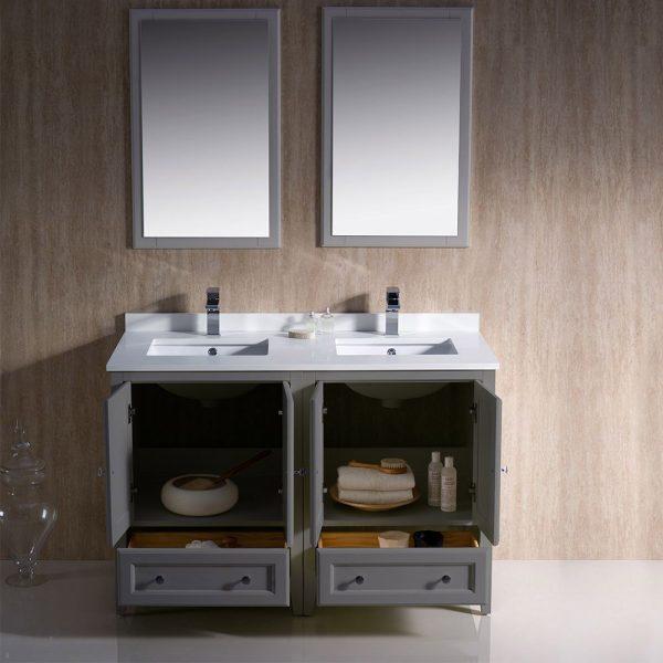 Fresca FVN20-2424GR Oxford 48 Inch Gray Traditional Double Sink Bathroom Vanity 2
