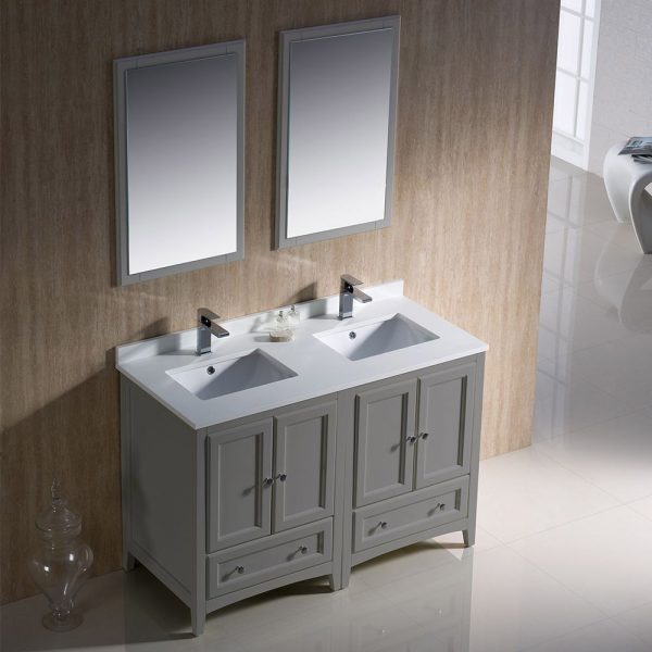 Fresca FVN20-2424GR Oxford 48 Inch Gray Traditional Double Sink Bathroom Vanity 3