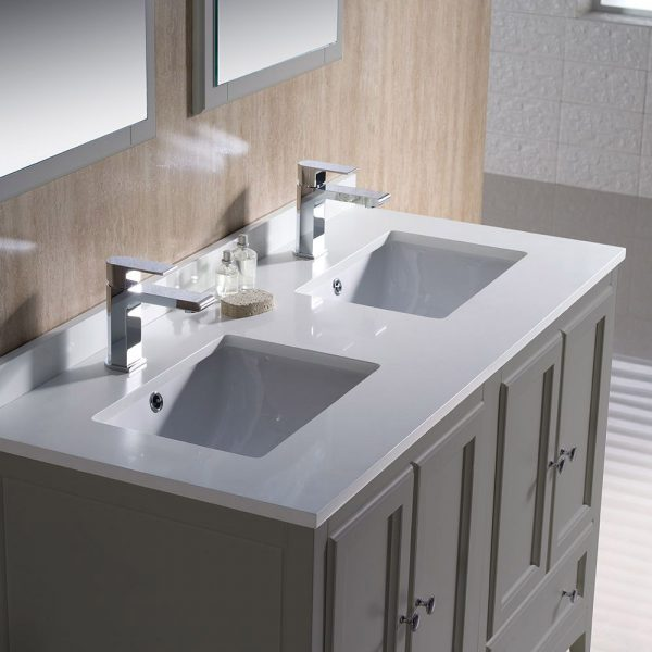 Fresca FVN20-2424GR Oxford 48 Inch Gray Traditional Double Sink Bathroom Vanity 5