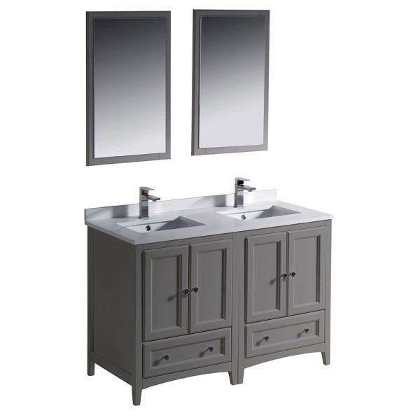 Fresca FVN20-2424GR Oxford 48 Inch Gray Traditional Double Sink Bathroom Vanity 6