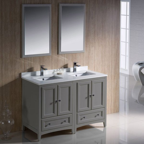 Fresca FVN20-2424GR Oxford 48 Inch Gray Traditional Double Sink Bathroom Vanity