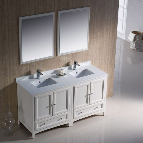Fresca FVN20-3030AW Oxford 60 Inch Traditional Double Sink Bathroom Vanity in Antique White 1
