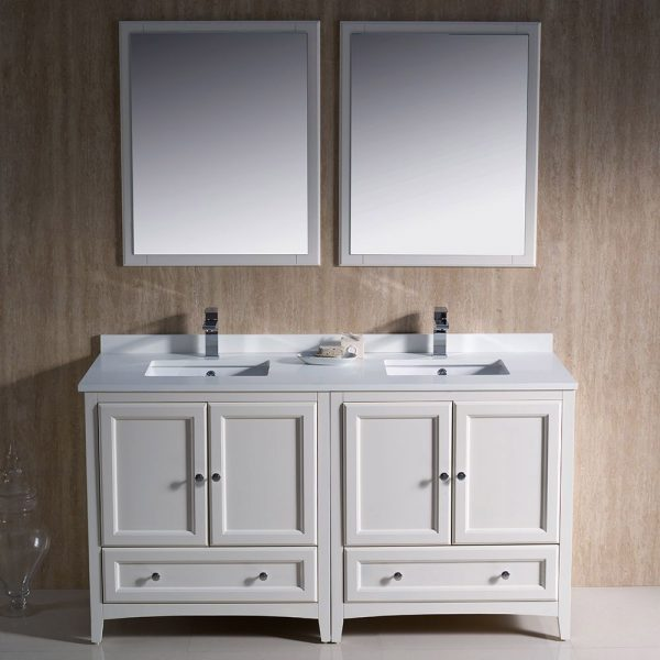 Fresca FVN20-3030AW Oxford 60 Inch Traditional Double Sink Bathroom Vanity in Antique White 2
