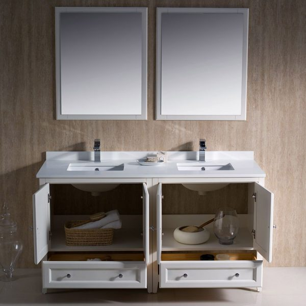 Fresca FVN20-3030AW Oxford 60 Inch Traditional Double Sink Bathroom Vanity in Antique White 3