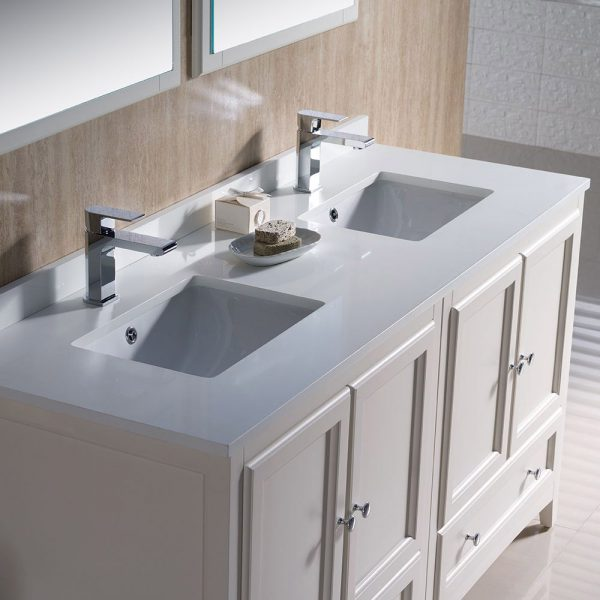 Fresca FVN20-3030AW Oxford 60 Inch Traditional Double Sink Bathroom Vanity in Antique White 5
