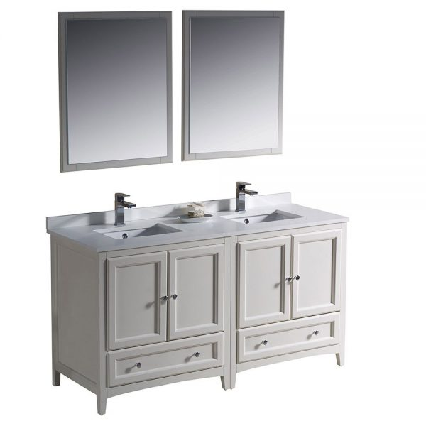 Fresca FVN20-3030AW Oxford 60 Inch Traditional Double Sink Bathroom Vanity in Antique White 6