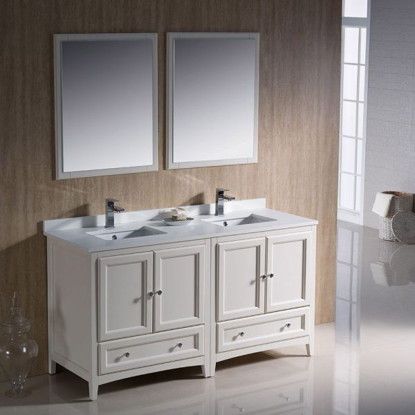 Fresca FVN20-3030AW Oxford 60 Inch Traditional Double Sink Bathroom Vanity in Antique White