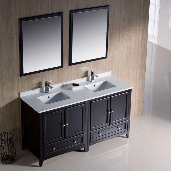 Fresca FVN20-3030ES Oxford 60 Inch Traditional Double Sink Bathroom Vanity in Espresso 1