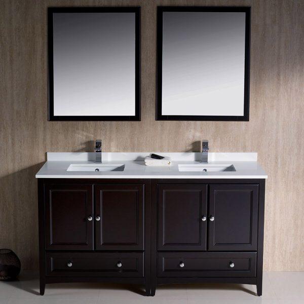 Fresca FVN20-3030ES Oxford 60 Inch Traditional Double Sink Bathroom Vanity in Espresso 2