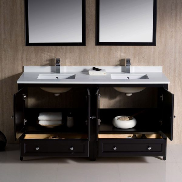 Fresca FVN20-3030ES Oxford 60 Inch Traditional Double Sink Bathroom Vanity in Espresso 3