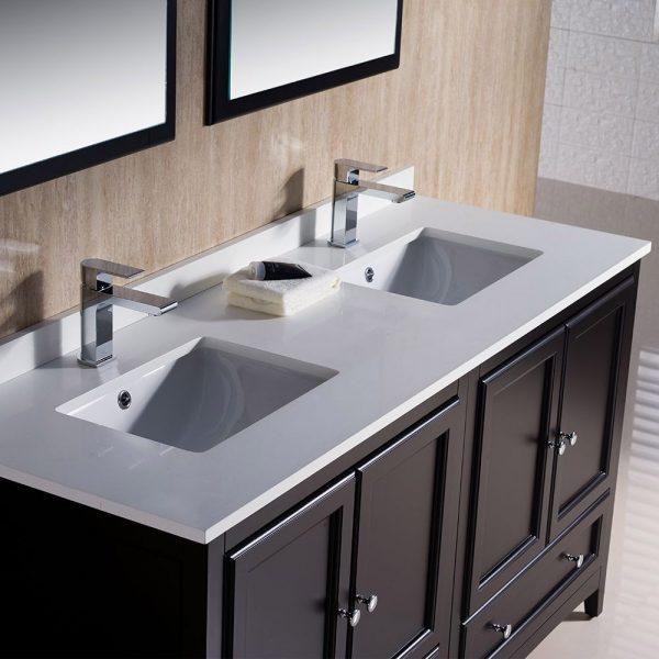 Fresca FVN20-3030ES Oxford 60 Inch Traditional Double Sink Bathroom Vanity in Espresso 4