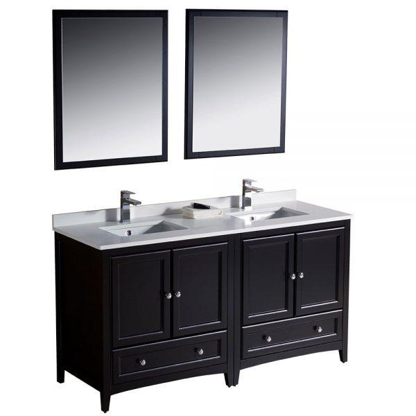Fresca FVN20-3030ES Oxford 60 Inch Traditional Double Sink Bathroom Vanity in Espresso 5