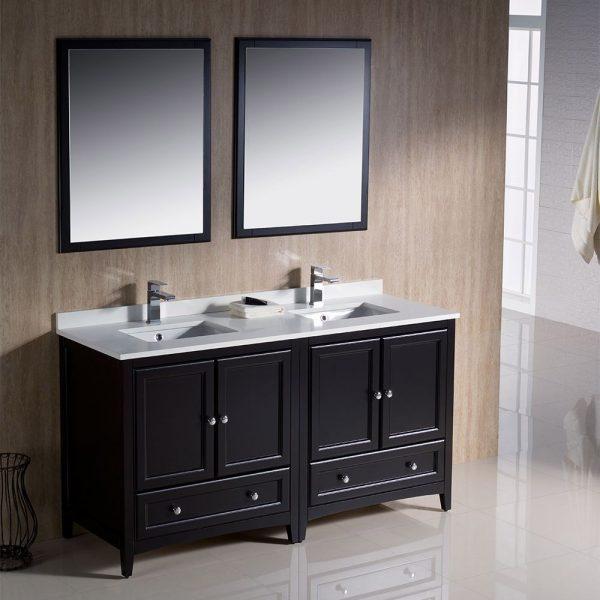 Fresca FVN20-3030ES Oxford 60 Inch Traditional Double Sink Bathroom Vanity in Espresso