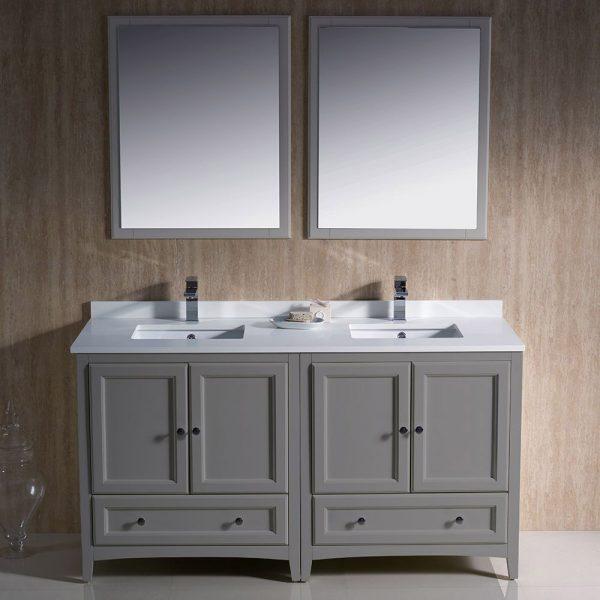 Fresca FVN20-3030GR Oxford 60 Inch Gray Color Traditional Double Sink Bathroom Vanity White Quartz 1