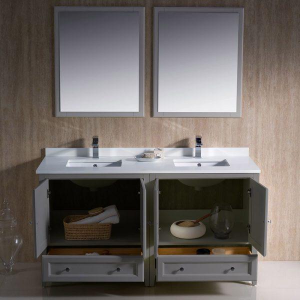 Fresca FVN20-3030GR Oxford 60 Inch Gray Color Traditional Double Sink Bathroom Vanity White Quartz 2