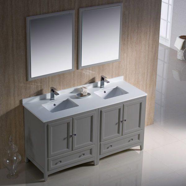 Fresca FVN20-3030GR Oxford 60 Inch Gray Color Traditional Double Sink Bathroom Vanity White Quartz 3