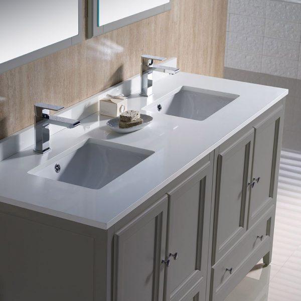 Fresca FVN20-3030GR Oxford 60 Inch Gray Color Traditional Double Sink Bathroom Vanity White Quartz 5