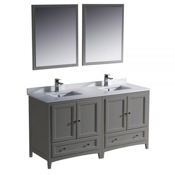 Fresca FVN20-3030GR Oxford 60 Inch Gray Color Traditional Double Sink Bathroom Vanity White Quartz 7