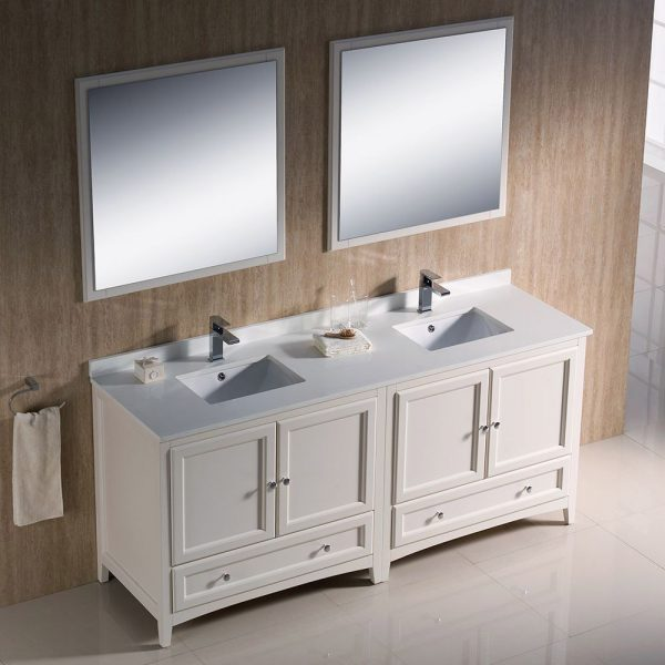 Fresca FVN20-3636AW Oxford 72 Inch Traditional Double Sink Bathroom Vanity in Antique White 1