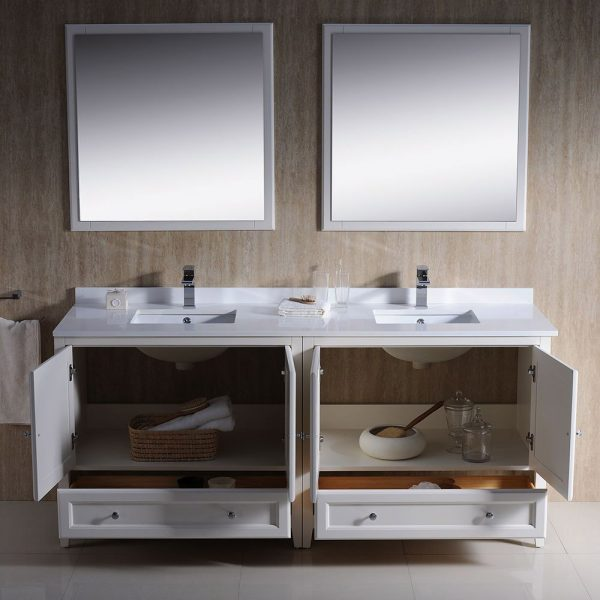Fresca FVN20-3636AW Oxford 72 Inch Traditional Double Sink Bathroom Vanity in Antique White 3
