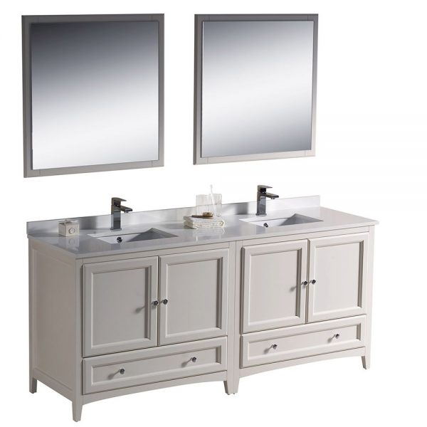 Fresca FVN20-3636AW Oxford 72 Inch Traditional Double Sink Bathroom Vanity in Antique White 5