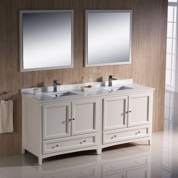 Fresca FVN20-3636AW Oxford 72 Inch Traditional Double Sink Bathroom Vanity in Antique White