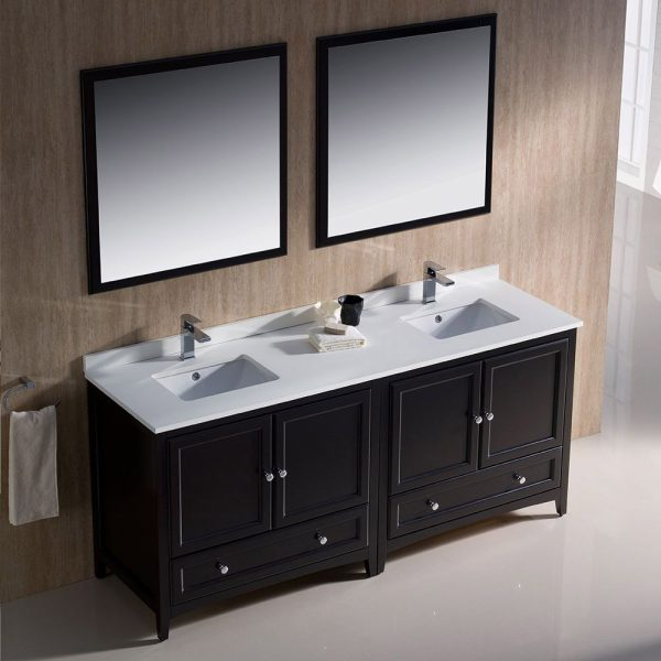Fresca FVN20-3636ES Oxford 72 Inch Traditional Double Sink Bathroom Vanity in Espresso Sink White Quartz 1