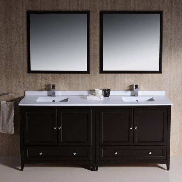 Fresca FVN20-3636ES Oxford 72 Inch Traditional Double Sink Bathroom Vanity in Espresso Sink White Quartz 2