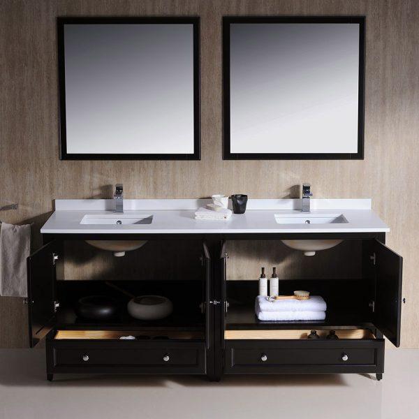 Fresca FVN20-3636ES Oxford 72 Inch Traditional Double Sink Bathroom Vanity in Espresso Sink White Quartz 3