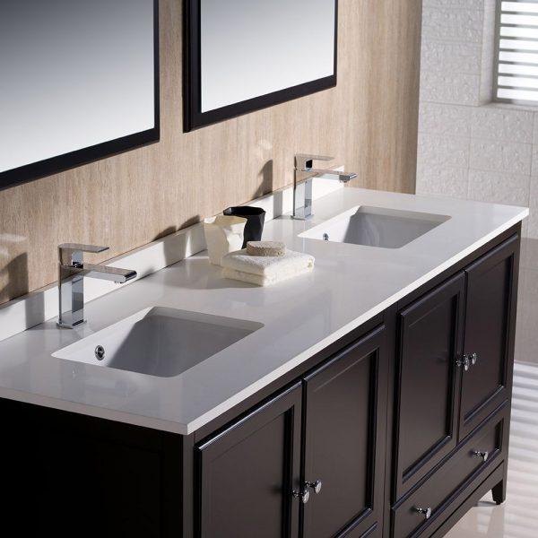 Fresca FVN20-3636ES Oxford 72 Inch Traditional Double Sink Bathroom Vanity in Espresso Sink White Quartz 4